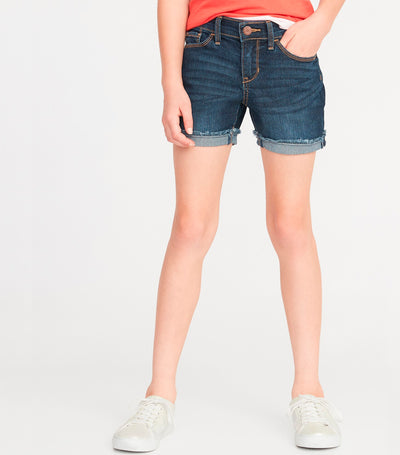 old navy kids dark wash rolled fray-hem jean shorts