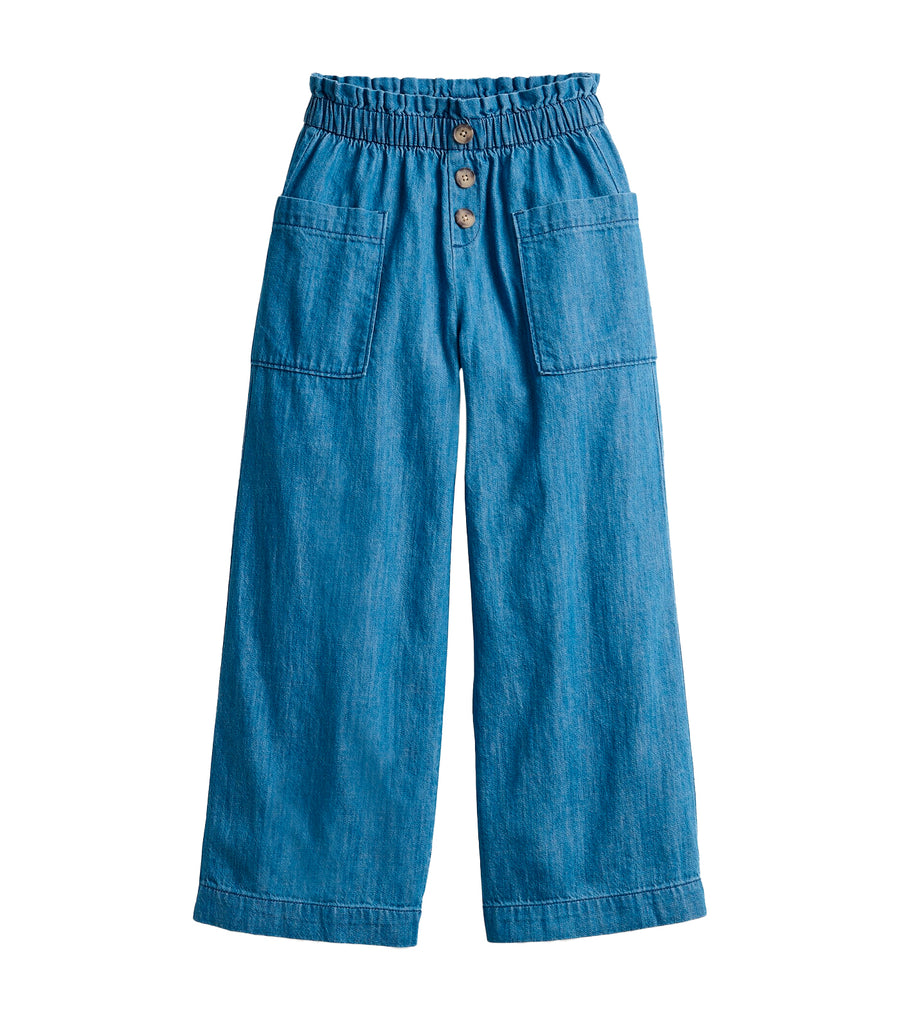 old navy kids medium wash paperbag-waist wide-leg pants