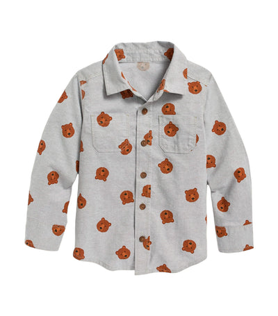 old navy toddler printed long-sleeve shirt - teddy bear brown