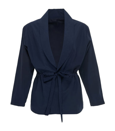oleg cassini elizabeth wrap-around blazer navy blue