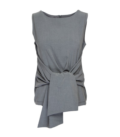 oleg cassini barbara sleeveless draped knot blouse gray