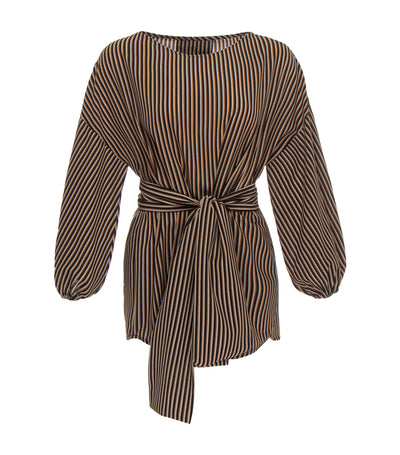 oleg cassini colette crepe blouse brown