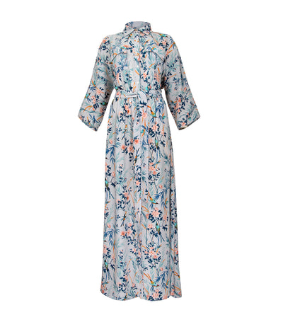 oleg cassini margaret long floral dress gray