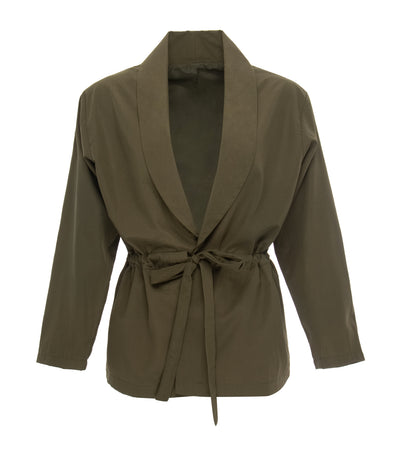 oleg cassini elizabeth wrap-around blazer army green
