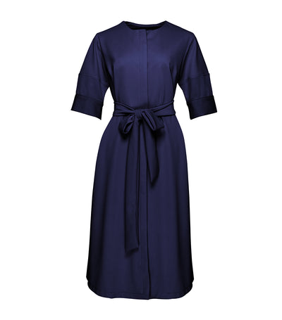 oleg cassini woman sylvie ribbon tie midi dress navy blue