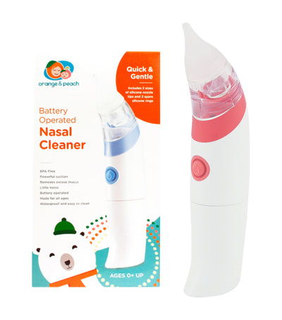 orange and peach battery-operated nasal cleaner
