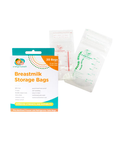 orange and peach breastmilk storage bag (20 bags)