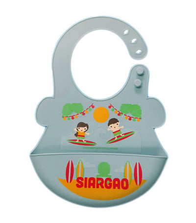orange and peach silicone food bib - siargao