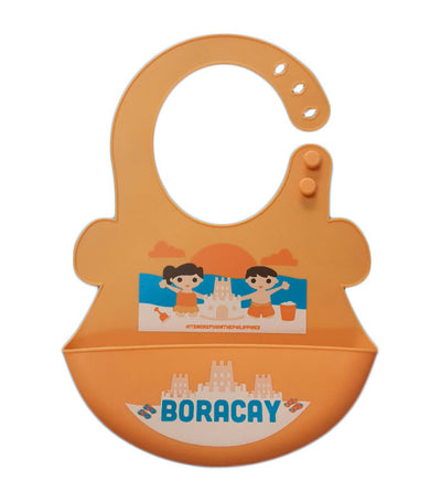 orange and peach silicone food bib - boracay