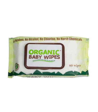 organic baby wipes with cap (80 wipes) - pack of 6