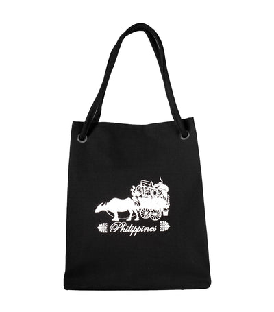 rustan's filipiniana our very own black canvas bag with carabao design