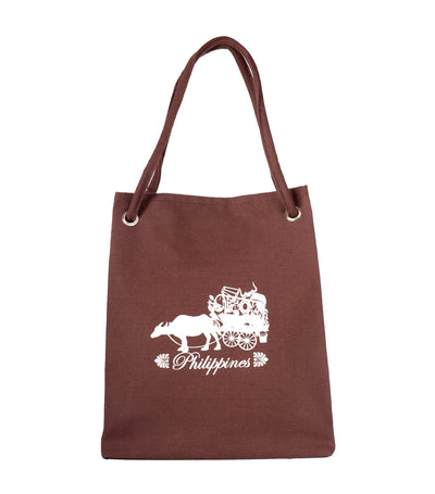 rustan's filipiniana our very own philippine cart printed canvas bag brown