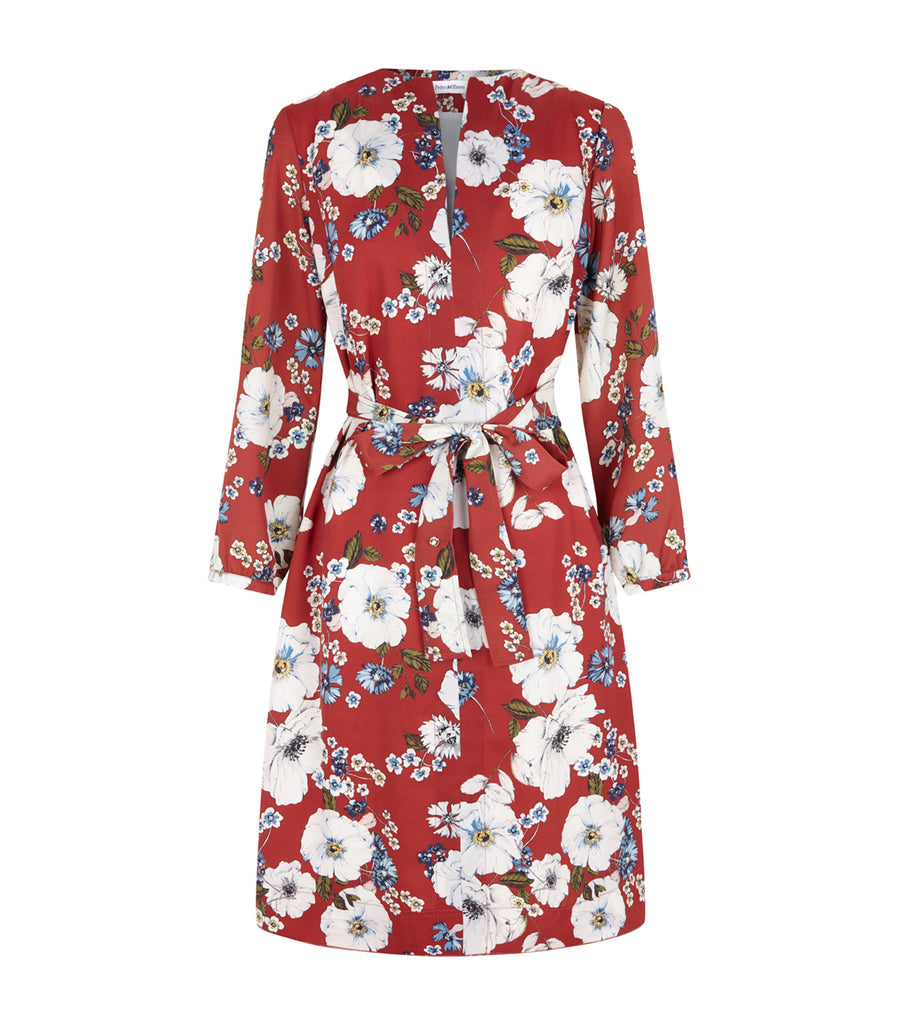 pedro  del  hierro orange  floral  shirt  dress