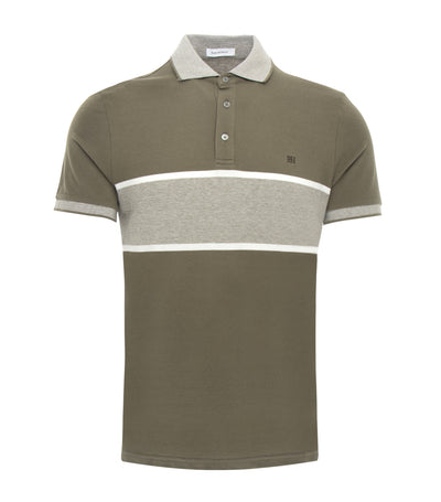 pedro del hierro positional stripes polo shirt olive green