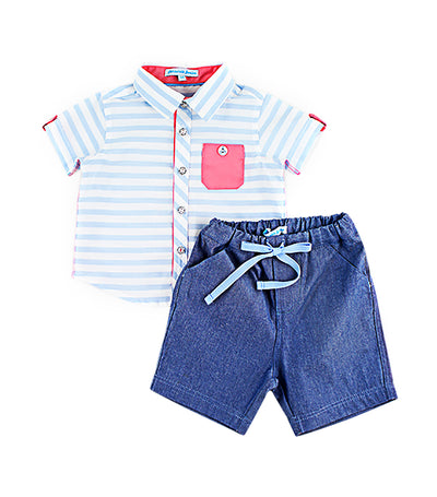periwinkle blue berlin s19 infant polo and shorts set