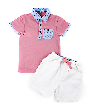 periwinkle coral bernard s19 infant polo shirt and shorts set