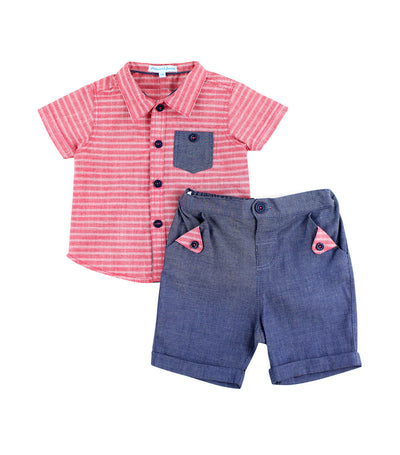 periwinkle red bryant s19 infant polo and shorts set