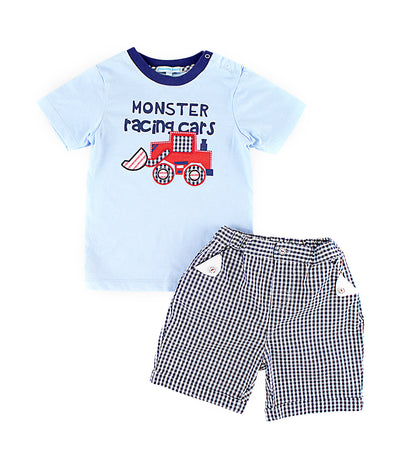 periwinkle blue bruce s19 infant t-shirt and shorts set