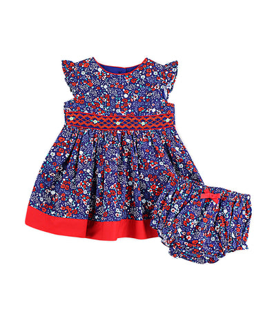periwinkle navy baronica s19 infant smock dress