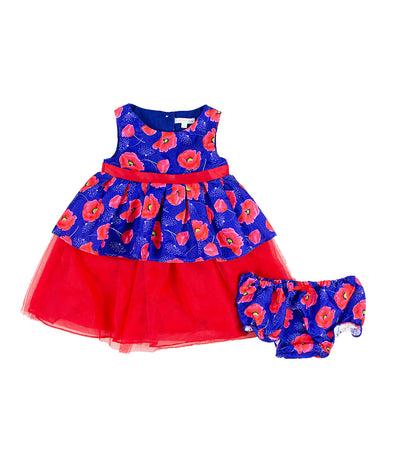 periwinkle navy and red edna h19 infant dress