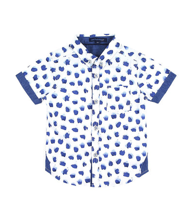 periwinkle blue and white jaime h19 short-sleeved polo