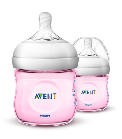 philips avent pink natural baby bottle 4oz (twin pack)