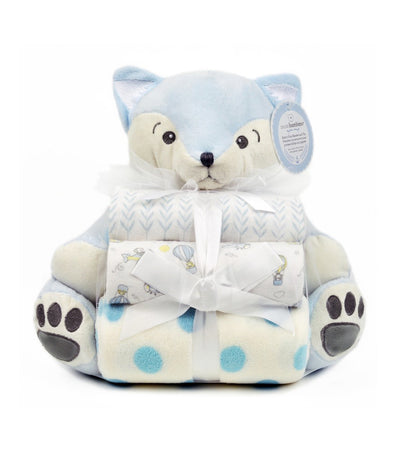piccolo bambino blue toy with 3 blankets