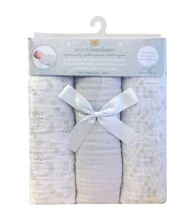 piccolo bambino gray muslin swaddling blanket set (3-piece)