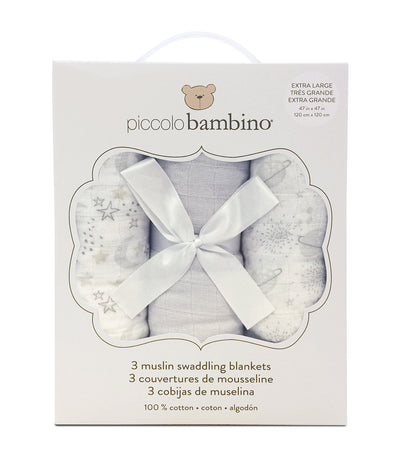 piccolo bambino gray muslin blanket box set (3-piece)