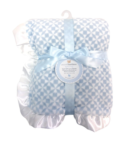 piccolo bambino blue luxury blanket with ruffled satin edge