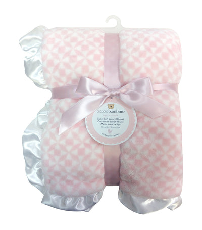 piccolo bambino pink luxury blanket with ruffled satin edge