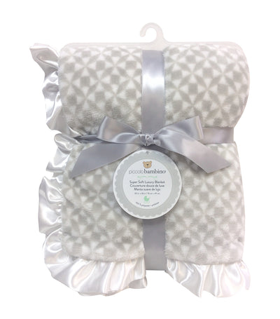 piccolo bambino gray luxury blanket with ruffled satin edge