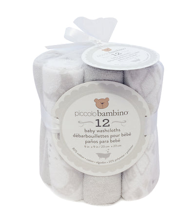 piccolo bambino gray baby washcloth (pack of 12)