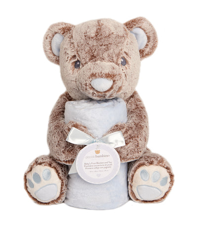 "piccolo bambino brown and blue blanket and 12"" toy bear"