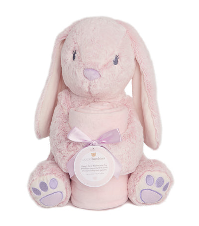 "piccolo bambino pink blanket and 12"" toy bunny"