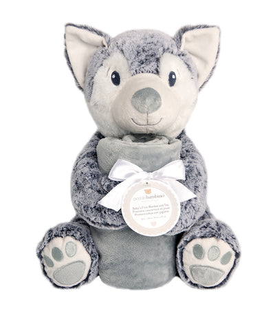 "piccolo bambino gray blanket and 12"" toy wolf"