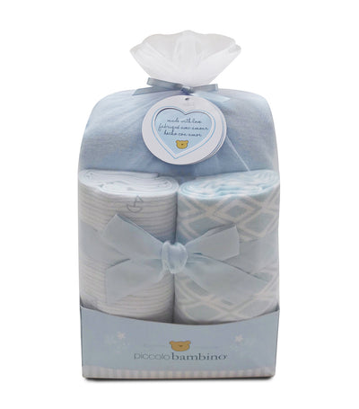 piccolo bambino blue 3-piece flannel baby gift set (blanket and crib sheet)