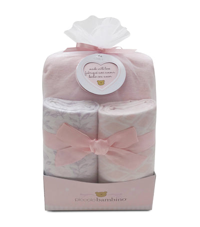 piccolo bambino pink 3-piece flannel baby gift set (blanket and crib sheet)