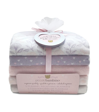 piccolo bambino pink 5-piece flannel receiving blanket in mesh bag