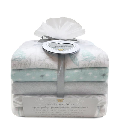 piccolo bambino gray 5-piece flannel receiving blanket in mesh bag