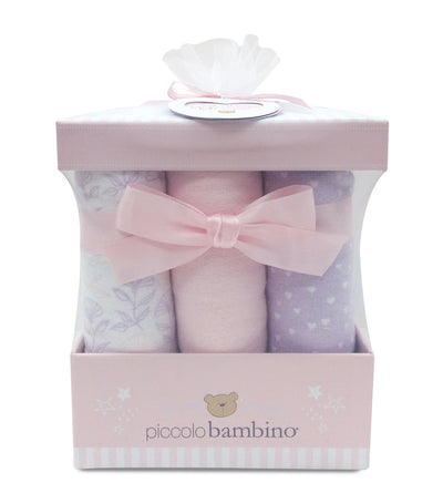 piccolo bambino pink 6-piece flannel receiving blanket box set