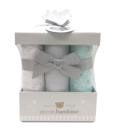 piccolo bambino gray 6-piece flannel receiving blanket box set