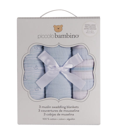piccolo bambino blue muslin blanket box set (3-piece)