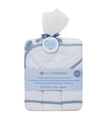 piccolo bambino blue 4-piece bath set (hooded towel with 3 washcloths)