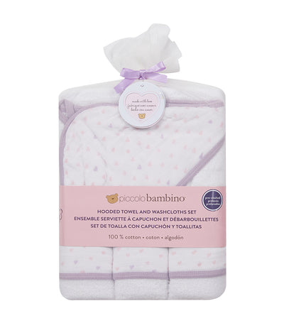 piccolo bambino pink 4-piece bath set (hooded towel with 3 washcloths)