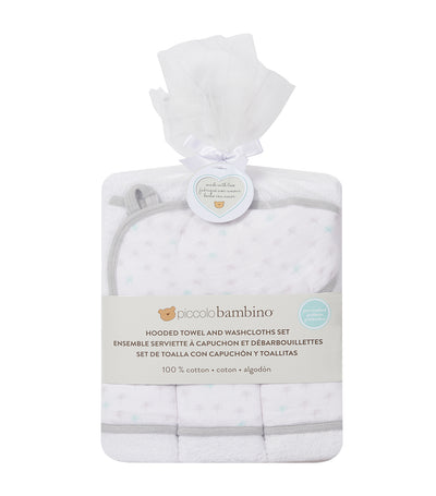 piccolo bambino gray 4-piece bath set (hooded towel with 3 washcloths)