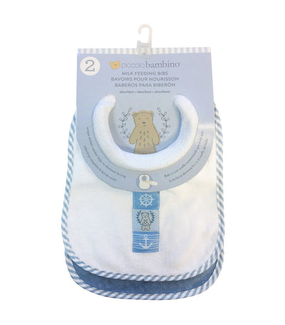 piccolo bambino blue 2-piece terry milk feeding bib