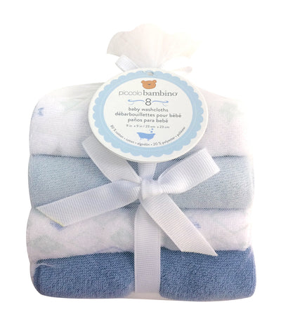 piccolo bambino blue terry washcloth (pack of 8)