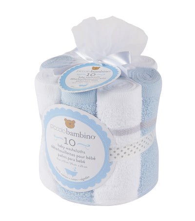 piccolo bambino blue large hemmed baby washcloths (pack of 10)
