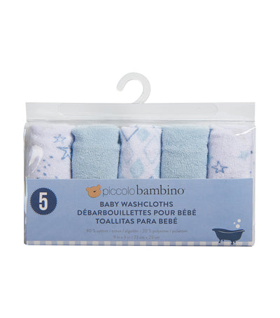 piccolo bambino blue washcloths in vinyl bag (pack of 5)